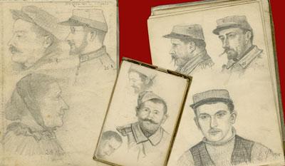 Portraits exécutés par Lucien Duclair, agent de liaison sur la ligne de front et extraits de ses carnets à dessins en 1915. Archives départementales de l'Essonne - Fonds Moulin